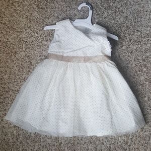 Baby girl formal dress ivory w/ gold accents
